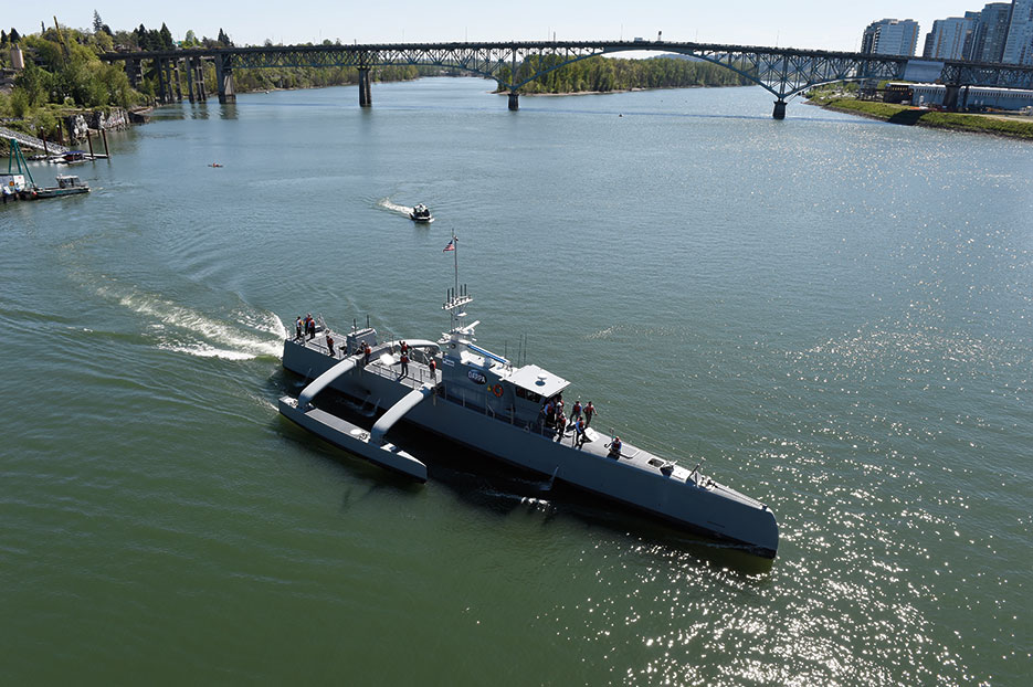 Sea Hunter is part of DARPA's Anti-Submarine Warfare Continuous Trail Unmanned Vessel program, in conjunction with ONR (U.S. Navy/John F. Williams)