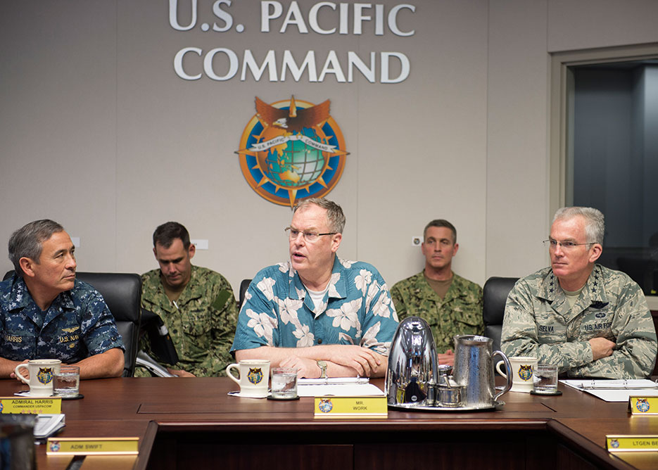 Deputy Secretary of Defense Robert Work and Vice Chairman of the Joint Chiefs of Staff General Paul Selva meet with Commander of U.S. Pacific Command, Admiral Harry Harris, to discuss Third Offset Strategy and its implications for Indo-Asia-Pacific region, October 18, 2016, Camp H.M. Smith, Hawaii (U.S. Navy/Jay M. Chu)