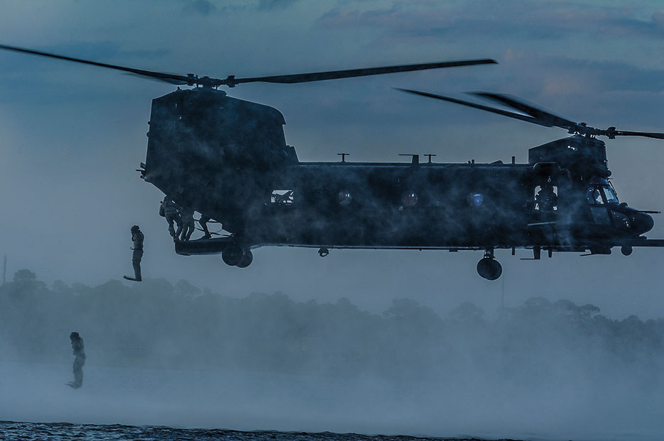 Airmen assigned to 23rd Special Tactics Squadron at Hurlburt Field, Florida, use MH-47 Chinook to conduct overt and covert infiltration, exfiltration, air assault, resupply and sling-load operations in wide range of environmental conditions (U.S. Air Force/Christopher Callaway)
