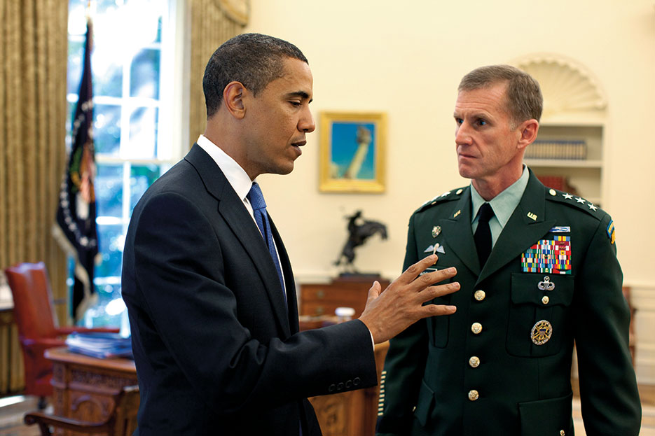 On May 19, 2009, President Barack Obama met with new U.S. Commander for Afghanistan Lieutenant General Stanley A. McChrystal in Oval Office (White House/Pete Souza)
