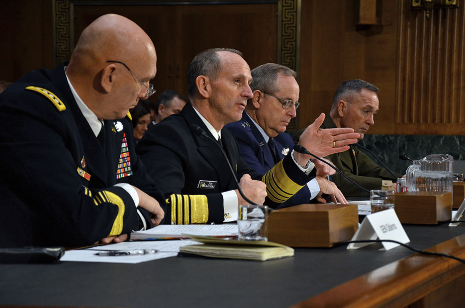 From left, former Service chiefs General Raymond T. Odierno, USA, Admiral Jonathan Greenert, USN, General Mark A. Welsh III, USAF, and General Joseph F. Dunford, Jr. (USMC), testified before Senate Armed Services Committee on effect of Budget Control Act of 2011 and sequestration on national security, January 28, 2015 (U.S. Navy/Julianne F. Metzger)