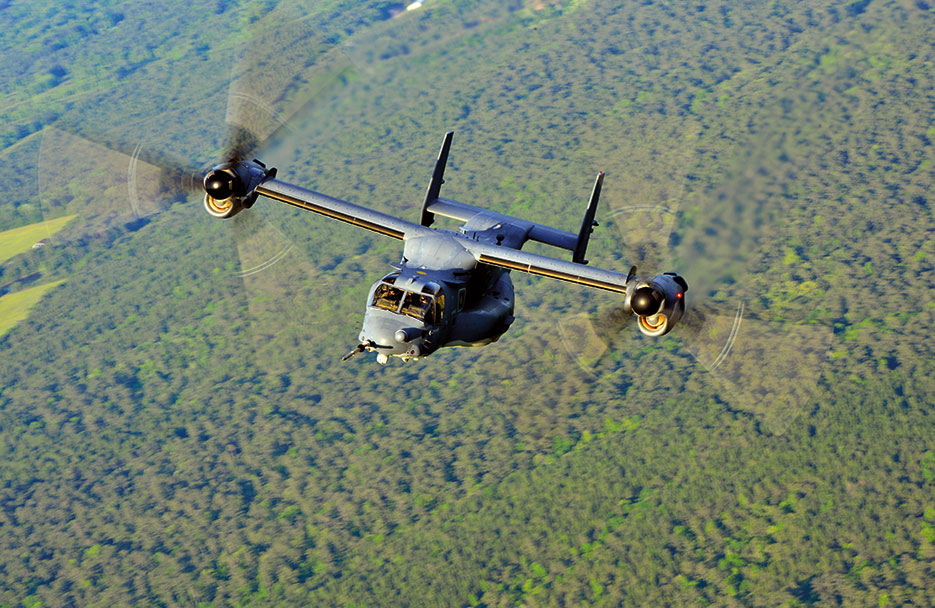 CV-22 Osprey from 8th Special Operations Squadron flies members of deployed aircraft ground response element over Hurlburt Field, Florida, during Emerald Warrior, DOD's only irregular warfare exercise, May 2, 2014 (U.S. Air Force/Jasmonet Jackson)