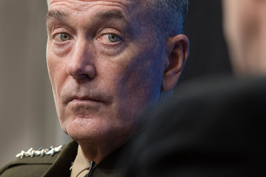 At Brookings Institution, February 23, 2017, General Dunford assessed risk posed by Russia, China, North Korea, Iran, and violent extremism <br />(DOD/D. Myles Cullen)