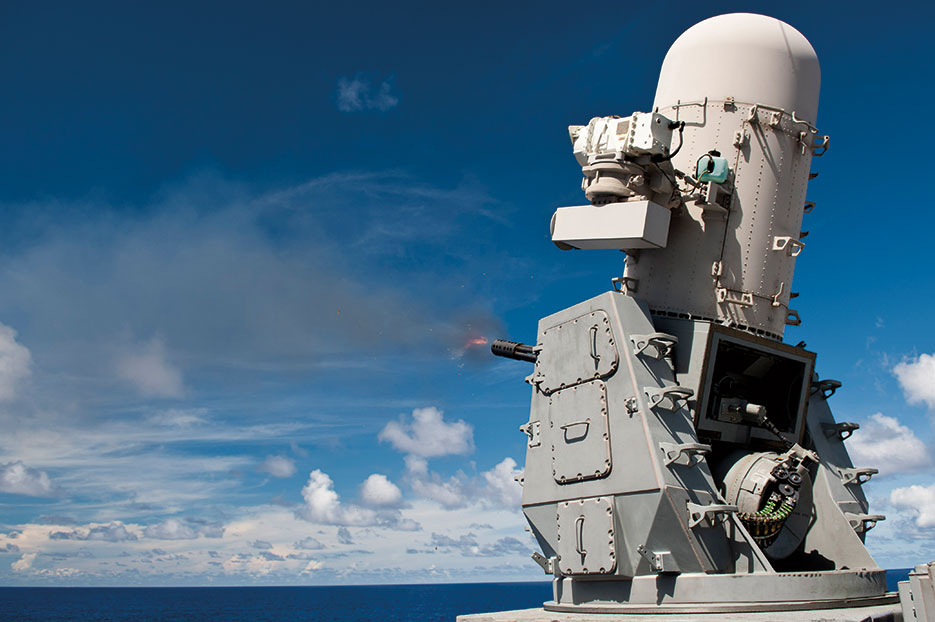 Phalanx close-in weapons system aboard Ticonderoga-class guided-missile cruiser USS Cowpens fires at missile decoy, September 10, 2012 (U.S. Navy/Paul Kelly)