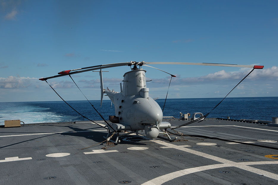 MQ-8B Fire Scout unmanned aircraft system from Magicians of Helicopter Maritime Strike Squadron 35 prepares for flight operations aboard littoral combat ship USS Fort Worth (U.S. Navy/Antonio P. Turretto Ramos)