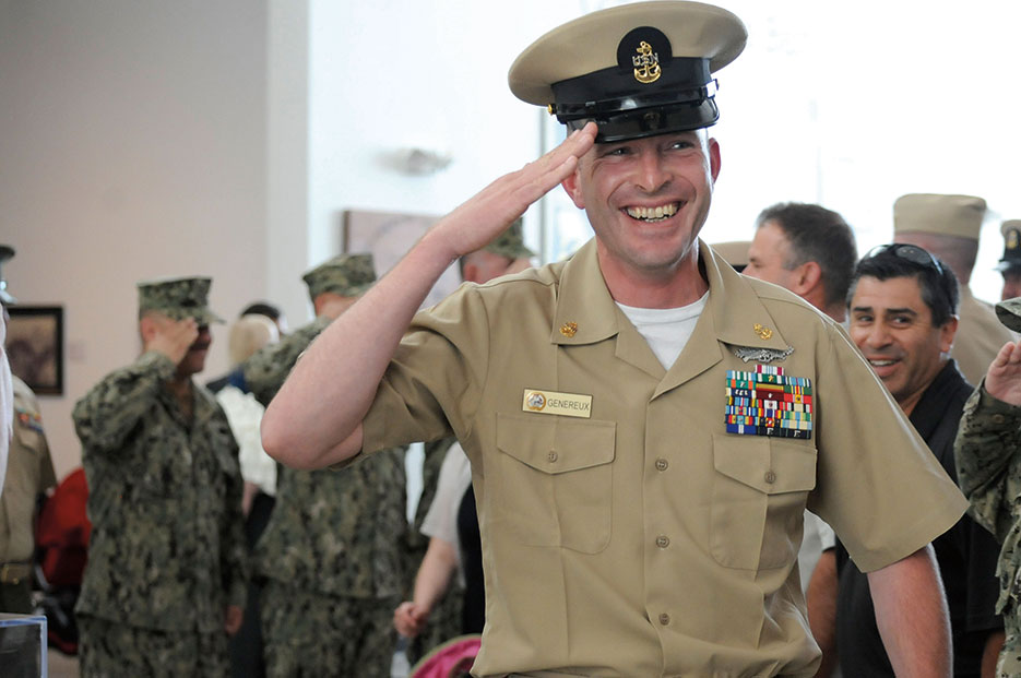 Chief Builder Keith Genereux, assigned to Naval Mobile Construction Battalion 5, renders final salute while passing through sideboys at his retirement ceremony, Port Hueneme, California, May 4, 2012 (U.S. Navy/Ace Rheaume)