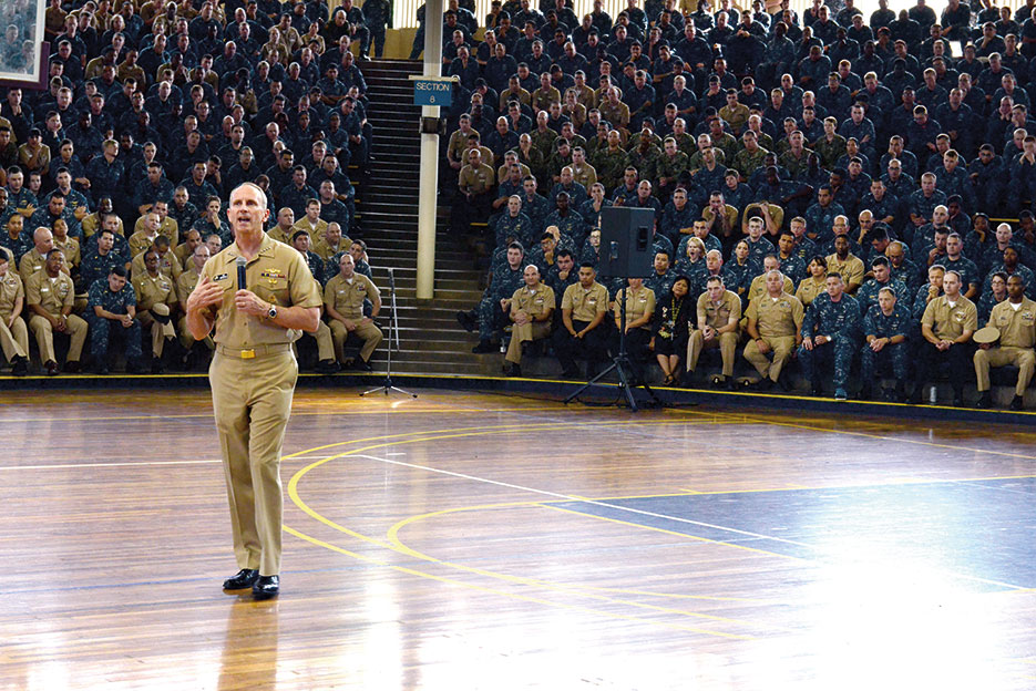 Former CNO Admiral Jonathan Greenert speaks with Servicemembers, civilians, and their families about U.S. rebalance to Pacific, shorter deployments, and potential upcoming changes to military compensation and retirement benefits, Pearl Harbor, February 6, 2015 (U.S. Navy/Brennan D. Knaresboro)