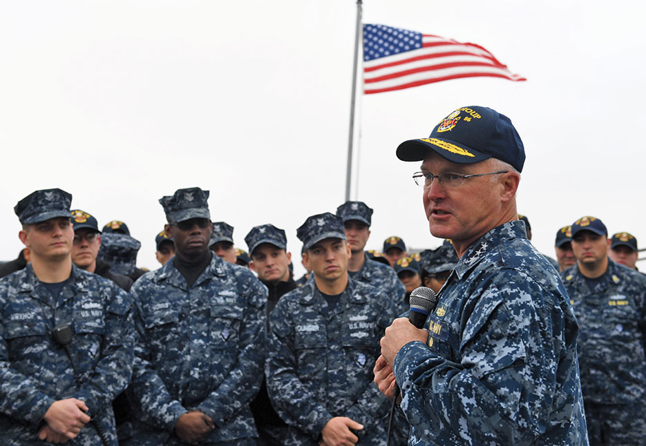 Vice Admiral Thomas Rowden, commander, Naval Surface Forces, U.S. Pacific Fleet, speaks to Sailors assigned to Arleigh Burke–class guided-missile destroyer USS Shoup during his visit to Naval Station Everett, November 1, 2016 (U.S. Navy/Joseph Montemarano)