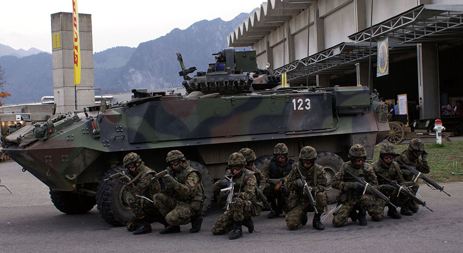 Swiss army infantry squad conduct building search demonstration, October 27, 2006, in Thun (Courtesy TheBernFiles)