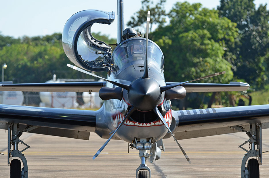Dominican Republic air force A-29 Super Tucano participates in initiative between U.S., Colombian, and Dominican Republic air forces on procedures to detect, track, and intercept illegal drugs (U.S. Air Force/Justin Brockhoff)