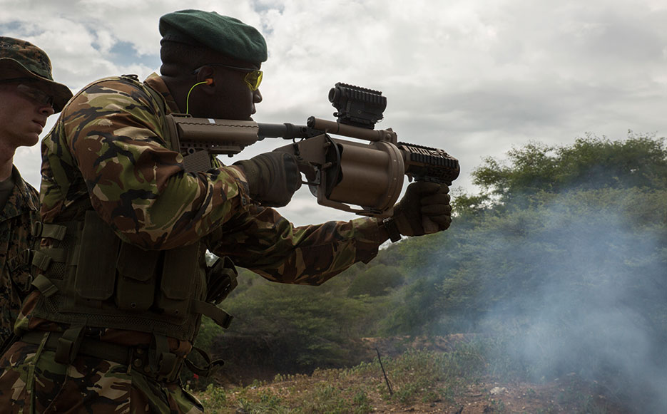 Servicemember from Barbados participates in Exercise Tradewinds 2016, at Twickenham Park Gallery Range, Jamaica, June 24, 2016 (U.S. Marine Corps/Justin T. Updegraff)