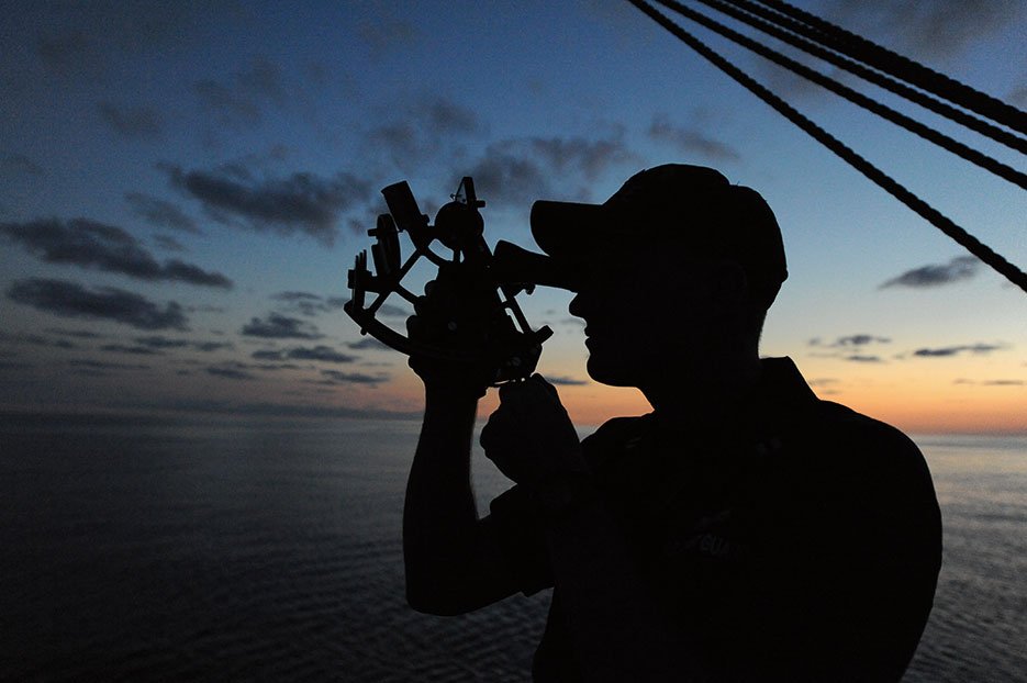 U.S. Coast Guard Academy officer candidate practices navigating using stars and sextant during evening training session aboard U.S. Coast Guard Barque Eagle, September 13, 2012 (U.S. Coast Guard/Lauren Jorgensen)