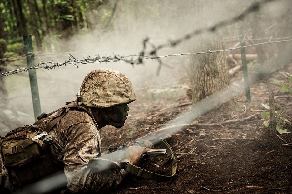 Marine candidate participates in fire team assault course at Officer Candidate School, Marine Corps Base Quantico, Virginia, June 17, 2017 (U.S. Marine Corps/Cristian L. Ricardo)