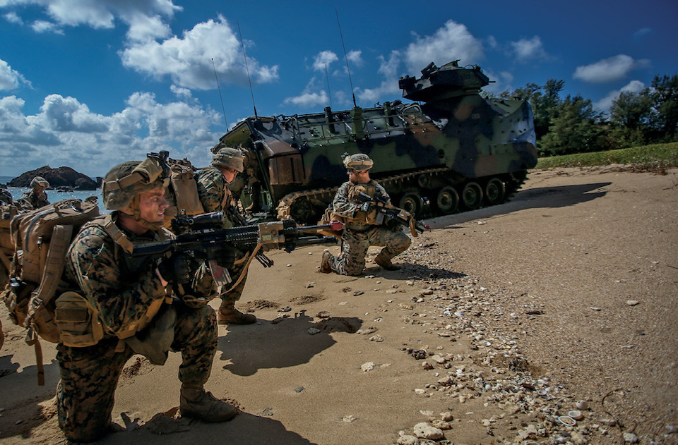 U.S. Marines assigned to Alpha Company, 1st Battalion, 3rd Marine Regiment conduct amphibious landing during Blue Chromite 18 aboard Kin Blue Beach, Okinawa, Japan, November 2, 2017 (U.S. Marine Corps/Aaron S. Patterson)