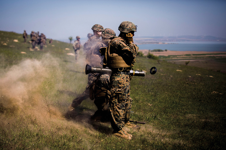 Marine fires AT-4 missile launcher during Exercise Platinum Eagle 17.2, at Babadag Training Area, Romania, May 3, 2017 (U.S. Marine Corps/Sarah N. Petrock)