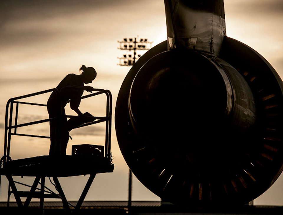 C-5 Galaxy aircraft crew chief assigned to 167th Maintenance Squadron, West Virginia Air National Guard, performs engine check after C-5 lands at Joint Base Charleston, South Carolina, July 22, 2013 (U.S. Air Force/Dennis Sloan)