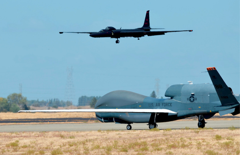 RQ-4 Global Hawk and U-2 Dragon Lady are Air Force's primary high-altitude ISR aircraft, Beale Air Force Base, California, September 17, 2013 (U.S. Air Force/Bobby Cummings)