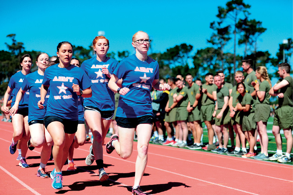 Army team at Defense Language Institute Foreign Language Center wins Commandant's Cup relay race at Presidio's Price Fitness Center Field, Monterey, California, June 15, 2016 (U.S. Army/Steven L. Shepard)