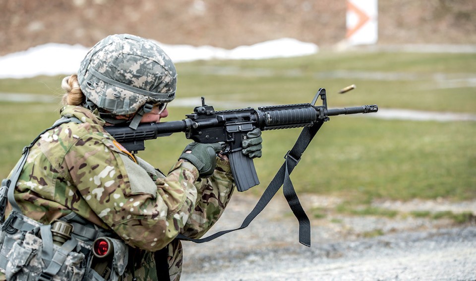 Soldier qualifies with M4 rifle during New York Army National Guard Best Warrior Competition at Camp Smith Training Site, March 30, 2017 (U.S. Army National Guard/Harley Jelis)