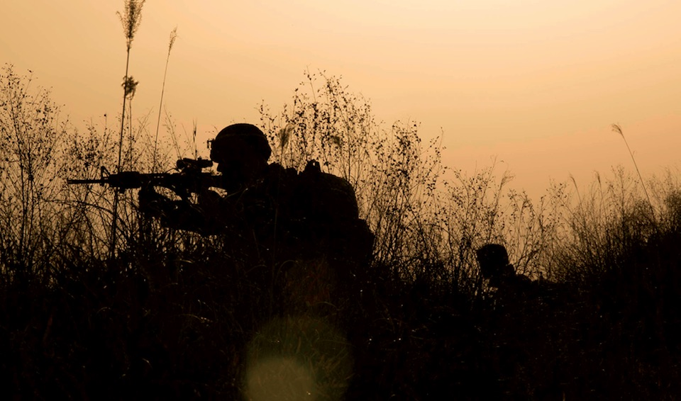 Marines with 3rd Marine Division, III Marine Expeditionary Force, post security on patrol during Forest Light 15-1, at the Oyanohara Training Area in Yamato, Kumamoto prefecture, Japan, December 9, 2017 (U.S. Marine Corps/Warren Peace)