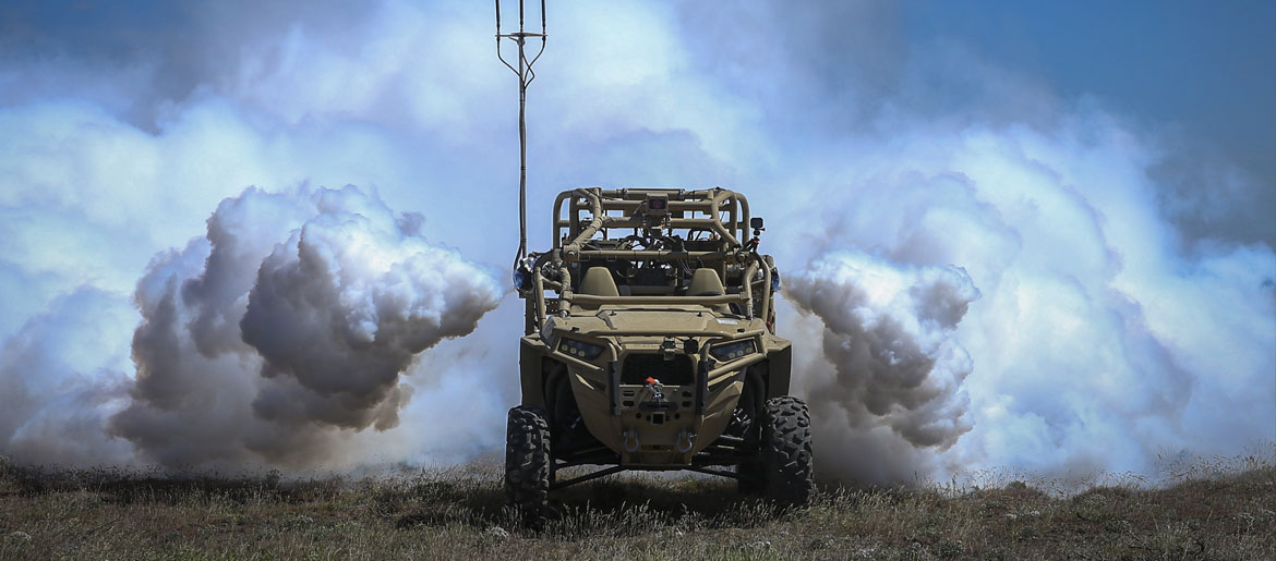 Screening Obscuration Module attached to Utility Task Vehicle activates autonomously during Robotic Complex Breach Concept on Yakima Training Center, Yakima, Washington, April 26, 2019 (U.S. Marine Corps/Nathaniel Q. Hamilton)