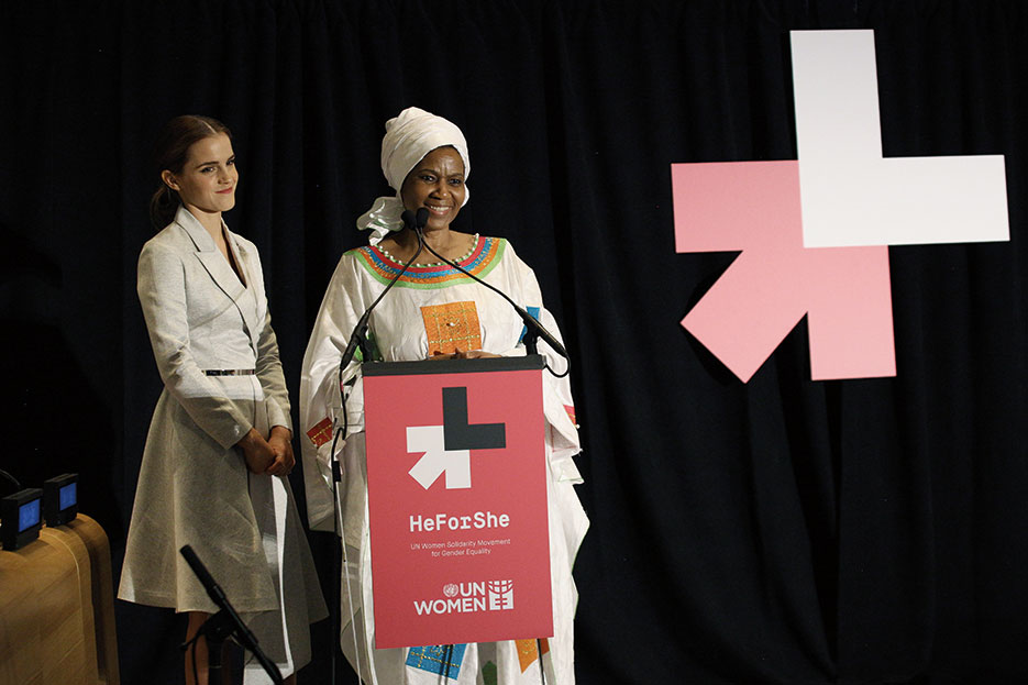 United Nations Women Executive Director Phumzile Mlambo-Ngcuka and UN Women Goodwill Ambassador Emma Watson called on men and boys worldwide to join movement for gender equality at HeForShe Campaign in New York City, September 2014 (UN Women/Simon Luethi)