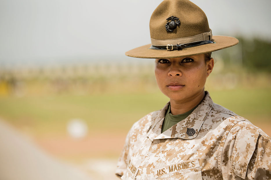 "Staff Sergeant Erika Bonilla, USMC, stated, ""I became a drill instructor because I wanted to make a difference and become a positive female role model to these young women"" (U.S. Marine Corps/Caitlin Brink)"