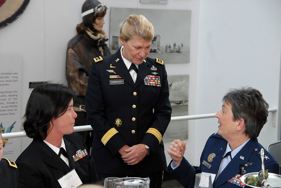 General Ann Dunwoody, USA, meets with Rear Admiral Liz Young and Air Force Major General Ellen M. Pawlikowski during lunch in her honor in February 2009 at the Women in Military Service for America Memorial at Arlington National Cemetery (U.S. Army)