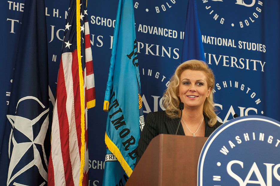 Assistant Secretary General for Public Diplomacy Ambassador Kolinda Grabar-Kitarovi, the first woman ever appointed Assistant Secretary General of NATO, speaks at Paul H. Nitze School of Advanced International Studies of The Johns Hopkins University, Washington DC (NATO)