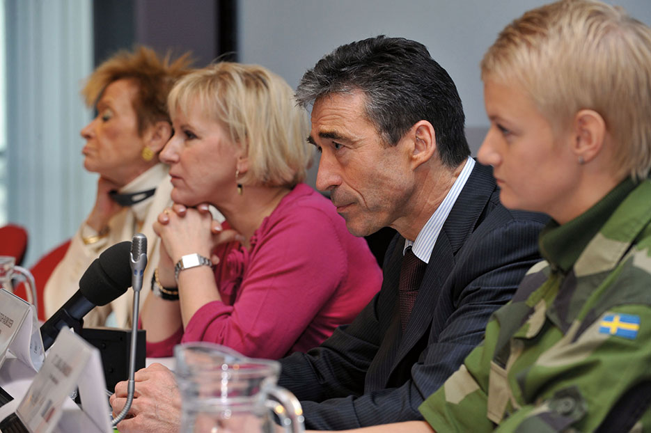 NATO Secretary General Anders Fogh Rasmussen addresses conference on Women, Peace, and Security organized by Security and Defence Agency at the European Union, Brussels, January 2010 (NATO)