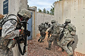 Air Force Reserve security forces members participate in 6-day combat leaders course while living in field conditions, placing practical application of combat maneuvers into complex mission environments (U.S. Air Force/Nicholas B. Ontiveros)